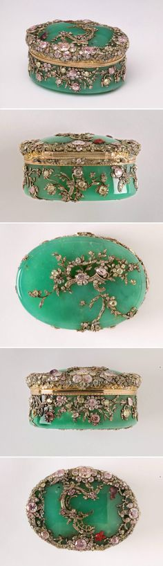 I wish I knew more about this beautiful piece. I think it's probably carved of jade,with a floral design created with gold and diamonds.