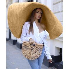 Where To Buy Oversized Giant Straw Hats. Jacquemus Hats For Sale. Outfits With Hats, Cool Hats, Celebrity Look, Summer Hats, Madame, Sun Hats, Street Style, Womens Fashion, Casual