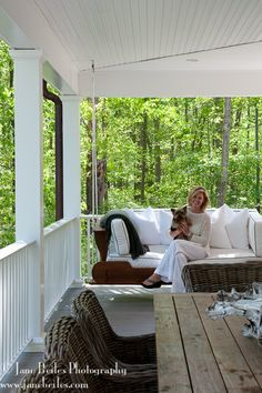 Southern style wrap-around porch in New Canaan Stirling Mills Design, New Canaan, CT---great porch swing Porch And Terrace, Porch Veranda, Side Porch, Porch Swing, Front Porch, Outdoor Spaces, Outdoor Living, Southern Porches, Rustic Table
