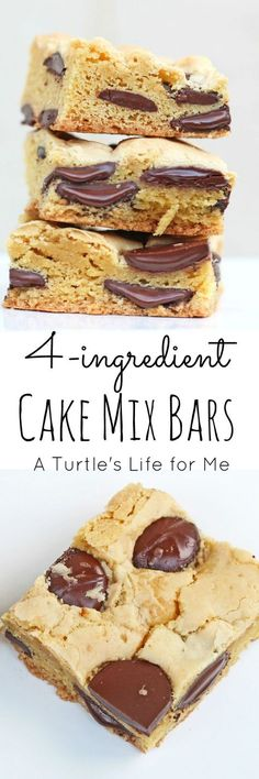 These Cake Mix Bars are so easy to make that it almost isn't a recipe! Only … These Cake Mix Bars are so easy to make that it almost isn't a recipe! Only 4 ingredients and she gives you lots of different ways to change the flavors to customize them! Cake Mix Desserts, Cake Mix Recipes, Cookie Desserts, Chocolate Desserts, Easy Desserts, Delicious Desserts, Yummy Food, Cookie Bars, Dessert Recipes