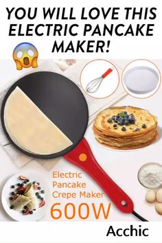 CREPE MAKER You do not feel good to make perfect crepe for your family for breakfast? How to make perfect crepes? Here's our Automatic Portable Crepe Maker for you, which will help you to make crepes in an easy way. Cool Kitchen Gadgets, Kitchen Hacks, Cool Kitchens, Kitchen Items List, Cooking Gadgets, Cooking Tools, Oven Cooking, Cooking Icon, Cooking Beef