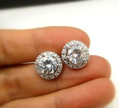 bridal wedding prom christmas party  round shape cubic zirconia luxury post white gold silver earrings stud on Etsy, $29.00