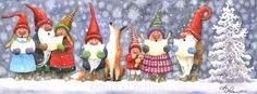 CAROLING GNOMES II Watercolor by Liz Hess (www.lizhess.com)