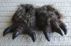 NWT Boys Slippers Brown Monster Feet Claws Faux Fur Funny Gift #Kohls #Slippers
