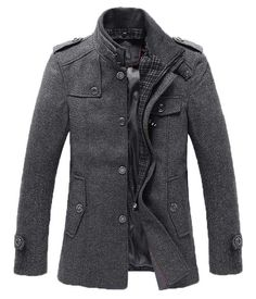 Men's Winter Style-The Ellis Mandarin #Short #Trench #Charcoal