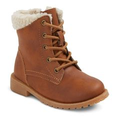 Toddler Girls' Mikaela Sherpa Lace Up Boots Cat & Jack - Brown