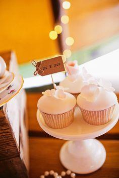 White Flower Cupcake Mr Mrs Topper Laid Back Tipi Wedding http://helenrussellphotography.co.uk/