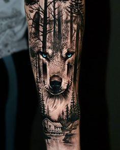 Animal Sleeve Tattoo, Tree Sleeve Tattoo, Nature Tattoo Sleeve, Best Sleeve Tattoos, Tattoo Sleeve Designs, Animal Tattoos, Wolf Tattoos Men, Daddy Tattoos, Badass Tattoos