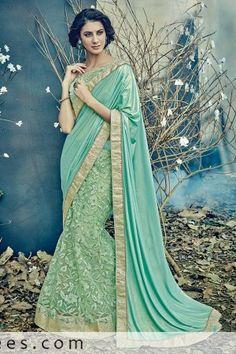 75ca2a2af9 Capricious Aqua Green Fancy net With Lycra Lehenga Saree