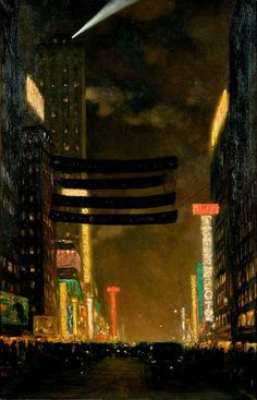 Frantisek T. Simon - 1927 Street in New York by Night