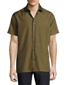 Short-Sleeve Silk Shirt, Military Green Chandler Bing, Sports Shirts, Military Green, Salvatore Ferragamo, Neiman Marcus, Men Casual, Mens Fashion, Mens Tops, How To Wear