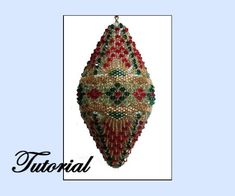 Christmas Diamond Beaded Ornament by beadedpatterns on Etsy, $25.00