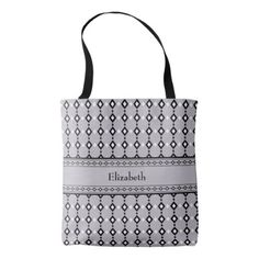 Monogram Abstract Black & White Diamonds on Grey Tote Bag - trendy gifts cool gift ideas customize
