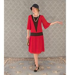 Red flapper dress with elbow length sleeves 1920s flapper
