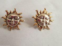 "Sun Earrings Jewelry 0.75"" L Celestial Hypoallergenic Posts Vintage Gift Planet #DavenportDesigns #Stud"