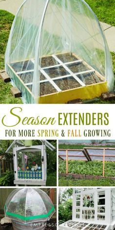 With the addition of season extenders including cold frames, polytunnels, and DIY greenhouses, you can get both an early start on your vegetable garden in spring and continue growing late in the fall right into the cold winter weather. See these 7 DIY projects for ideas. #gardening #gardentips #seasonextenders #coldframes #polytunnels #coolweathergardening #empressofdirt #vegetablegarden