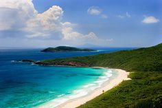 Culebra, Puerto Rico. Playa Resaca with Cayo Norte and St. Thomas in the distance. The forest is a part of the Culebra National Wildlife Refuge. Copyright by Carly Voight. Photo for sale at http://rainforestreflections.smugmug.com/Travel/Caribbean-Islands/1267499_pJh2hv