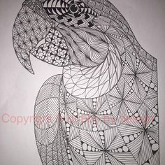 Macaw template from Ornation Creation. #zentangle #dubbybydesign #zentangleinspiredart #ornationcreation #benkwok #zendoodle #doodle #inkdrawing