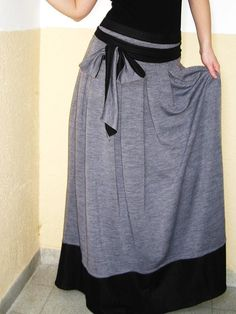 Day and Night cotton skirt grey long skirt maxi skirt and sash gypsy skirt grey skirt. $69.90, via Etsy.