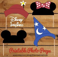 Disney Photo Props Printable Funny DIY 24 photo booth props for party, wedding, or photo shoots. Photobooth props disney inspired