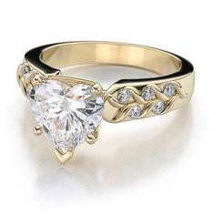 Art Deco Heart Shape Diamond Engagement Setting in 18k Yellow Gold (.40ctw)