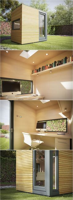 "MICRO POD | GARDEN STUDIO *** "" The Micropod is a garden studio measuring only 2.5 by 2.0m. Everyday, with modern times and the use of new technologies, more people are working from home, this is the ideal solution for homeworkers. The Micropod has a compact design making it fit unobtrusively into most gardens. You can customize your pod with options including additional windows, under floor heating, fitted desks, shelving and decking. """