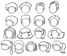 Faceless people with different hair style Free Vector