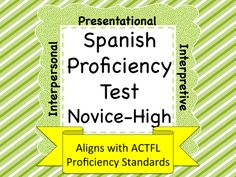 I developed this assessment as a tool for gathering data as to student's proficiency levels during their second and third years of language study in Spanish. This assessment is directly aligned with the ACTFL progress indicators for Novice-High fluency. This assessment addresses all skill areas; Interpersonal Speaking, Presentational Speaking, Presentational Writing, Interpretive Listening, and Interpretive Reading.