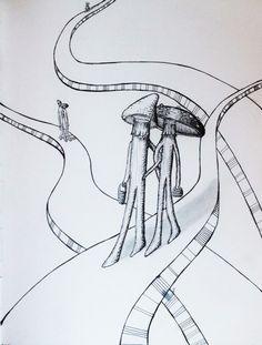 drawing of mushroom couples taking a walk on floating platform sidewalks. pen and ink