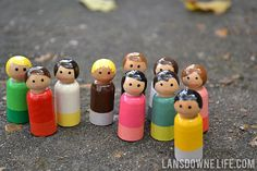 Simple hand painted peg dolls at LansdowneLife.com- to make for E in another year or two