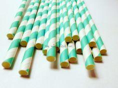25 Aqua Blue Striped Straws Drink Flags Party Favor Decoration Retro Soda Turquoise