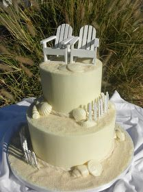 Sweet T's Cake Design: Beach 2 Tier Wedding Cake