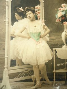 Antique ballet dancer postcard Lady woman girl by LizKnijnenburg
