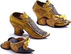Baroque Period Convertible Shoes Silk Shoe with overshoe (patten) Germany 18th Century Clothing, 18th Century Fashion, 17th Century, Vintage Shoes, Vintage Outfits, Vintage Fashion, Antique Clothing, Historical Clothing, Diy Shorts
