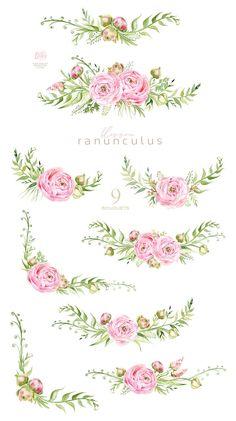 Ranunculus floral clipart watercolor flowers babyshower | Etsy Money Bouquet, Clip Art, Frame Wreath, Decoupage Paper, Floral Bouquets, Floral Flowers, Ranunculus, Flower Tattoos, Nursery Art