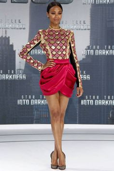 Zoe Saldana shines in a Balmain dress and mesh Christian Louboutin pumps for the Star Trek Into Darkness Berlin release.