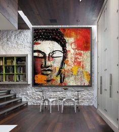 Large Hand Painted Square Abstract Buddha on Canvas. 3d Canvas Art, Canvas Painting Designs, Wall Painting Decor, Cool Abstract Art, Abstract Tree Painting, Buda Painting, Buddha Art, Mural Art, Hand Painted
