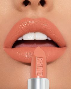 @kyliecosmetics: Sweet like SHERBET Can't wait for you guys to try the smooth, soft creamy formula of our new lipsticks. #SilverSeries #kylienewlipstick #kyliecosmetics #kyliejenner #peachlipstick Kylie Lipstick, Lipstick Dupes, Best Lipsticks, Lipstick Shades, Lipstick Colors, Orange Lipstick, Bright Lipstick, Bold Lips, Nude Lipstick
