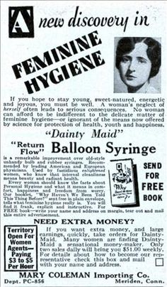 Ladies, make extra money by taking orders for the the latest thing in feminine hygiene, the Dainty Maid Balloon Syringe. (Physical Culture, 1930)