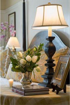 Pretty bedside table vignette!  #nightstand #bedside + table, #bedroom