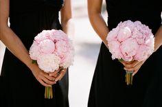 Black dresses, blush flowers!
