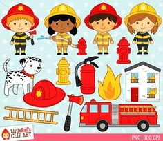 Community helpers - firefighter clip art by Little Red's Schoolhouse $
