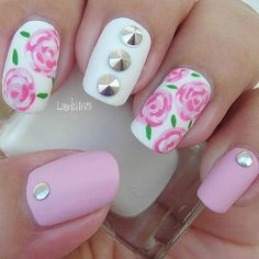 Pink and White Flower Matte Nail Design