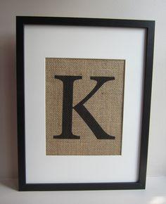 "Burlap Wall Decor - Print 8"" x 10"" - Monogram, All Letters Available - Capital or Small - Canvas Wall Decor. $12.00, via Etsy."