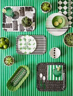 Does anyone know where these dishes are from? I love the black & white with lime green for summer in the kitchen. The link is for Charlotte love: Goodhomes magazine, June Issue