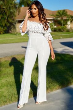 3068a46c0 Hailey White Off Shoulder Flower Ruffled Sleeve Palazzo Jumpsuit – MY SEXY  STYLES Palazzo Jumpsuit,