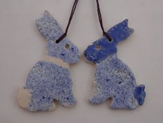 Ceramic Easter Bunny Decorations in Blue - Handmade Pottery #1200degreesceramics.com