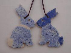 Ceramic Easter Bunny Decorations in Blue - Handmade Pottery #1200degreesceramics.com