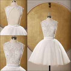 White Lace Short Homecoming Dress Open Back Party Dress by AIJIAYI, $139.00