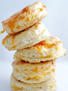 Mini Cheddar Biscuits. Makes about 24 small biscuits  Blend 1 1/2 cups self-rising flour with 1 cup of heavy cream and 1 cup of grated sharp cheddar to form a soft dough.    Pat into a circle 1-inch thick and cut out rounds or squares about 1-inch across. Bake for about 8 minutes at 400 degrees, until puffed and golden.